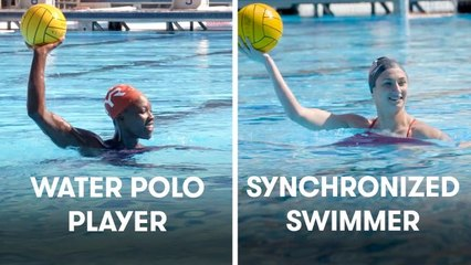 Synchronized Swimmers Try To Keep Up With Water Polo Players