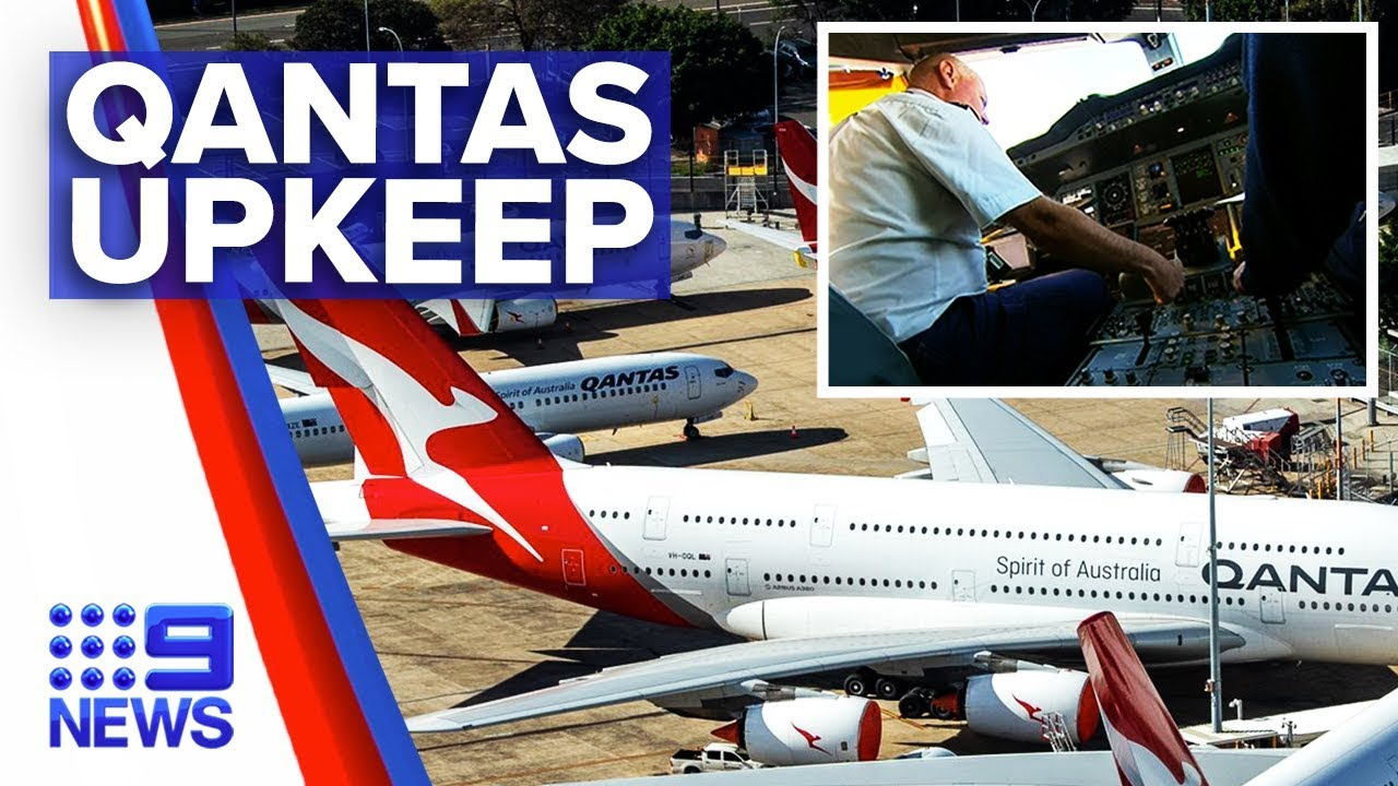 Coronavirus- Closer look into Qantas aircraft upkeep – Nine News Australia