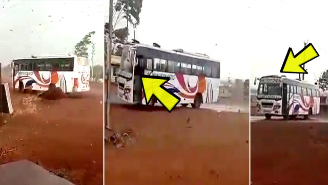 Viral: Heavy wind taking away a bus