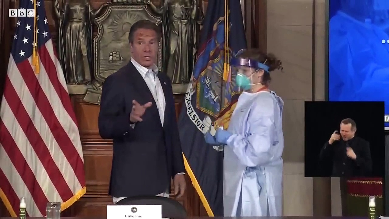 NY governor takes coronavirus test live on TV – BBC News