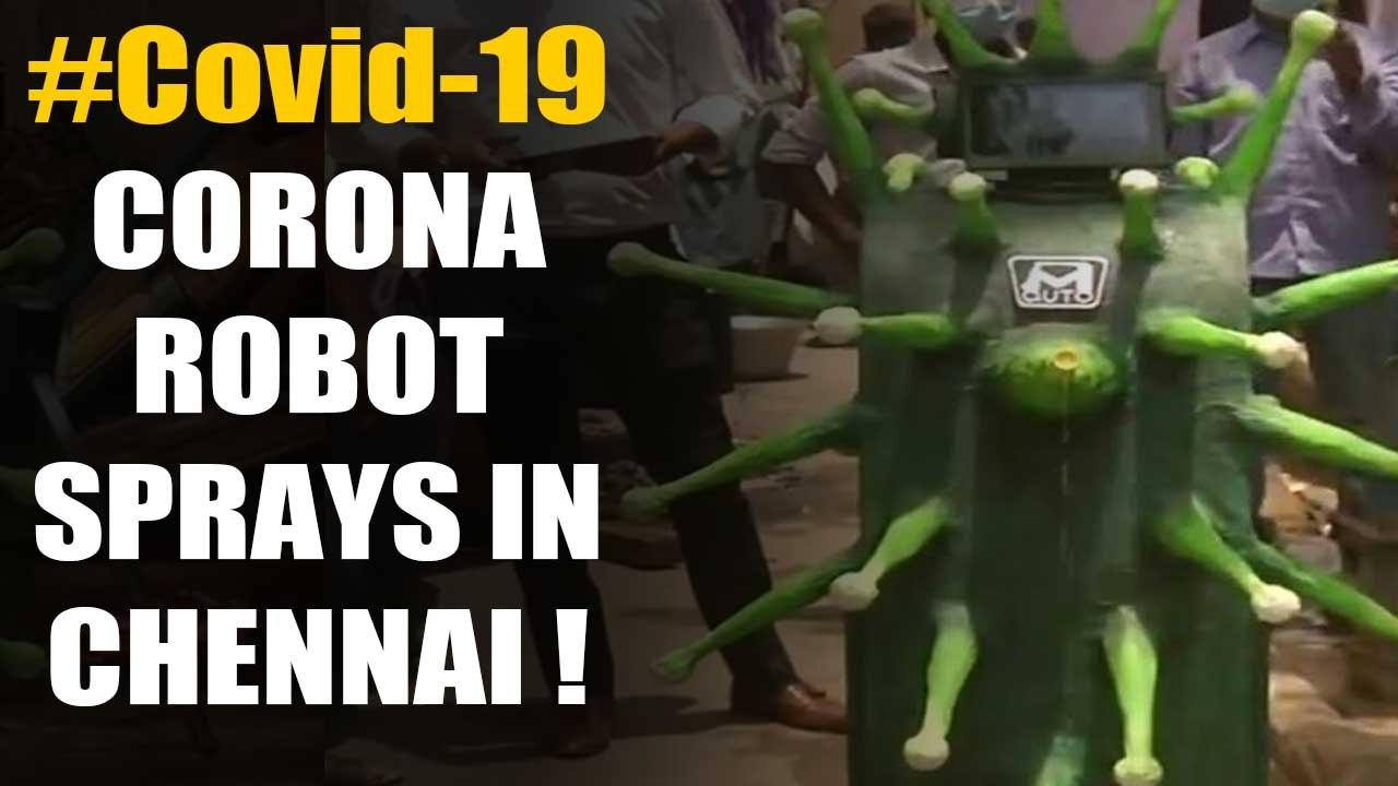 Covid-19: Unique Corona shaped robots spray disinfectants in Chennai:Watch | Oneindia News