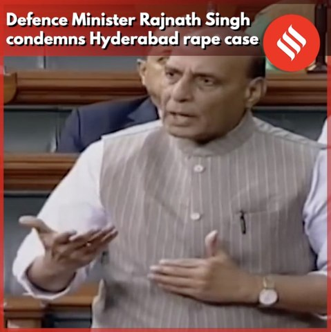 Defence Minister Rajnath Singh  condemns Hyderabad rape case