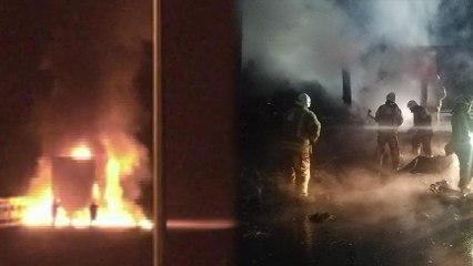 Medikal maske yüklü TIR alev alev yandı
