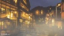 [ASMR ambience,環境音,BGM]湯けむりの漂う温泉街と、時たま降る小雨の音/Light rain and sound of hot springs