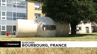Coronavirus: French nursing home's special tent lets elderly have visitors again