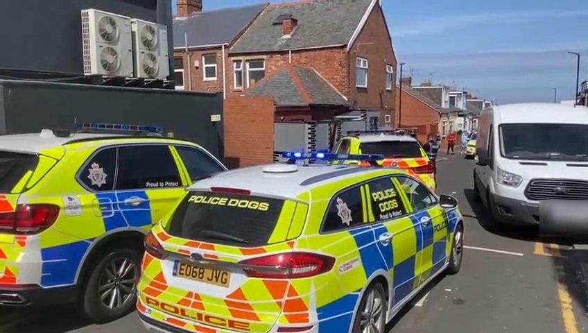 Police in Sunderland's Stockton Terrace