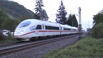 Züge zwischen Hammerstein und Leutesdorf am Rhein, Northrail 1142, SNCF Prima, ICE 3, 151, 3x 185, 143, 2x 425