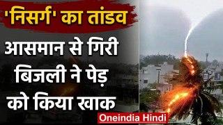 Cyclone Nisarga: आसमान से गिरी बिजली ने खाक कर डाला पेड़, कैमरे में कैद हुई घटना   वनइंडिया हिंदी