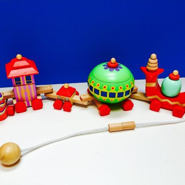 Wooden Stacking Blocks Pull Toy Train In The Night Garden
