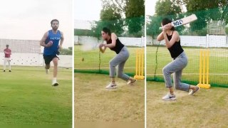 Deepak Chahar plays cricket with sister Malti Chahar