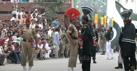 Cut throat competition at Wagah Border during flag down ceremony
