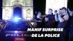Avant l'allocution de Macron, les policiers manifestent devant l'Arc de Triomphe