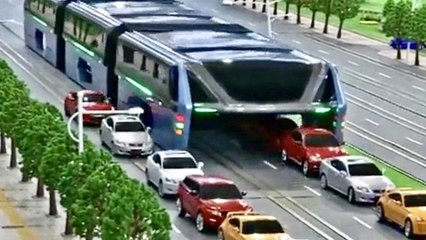 Elevated Tunnel Bus Straddles Over Traffic - Interesting Design