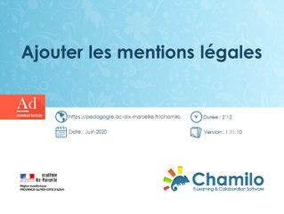 Chamilo - Ajouter les mentions légales