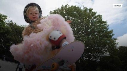 Baby on board! 3-year-old skating sensation cruises through Brighton
