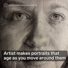 Artist makes portraits that age as you move around them