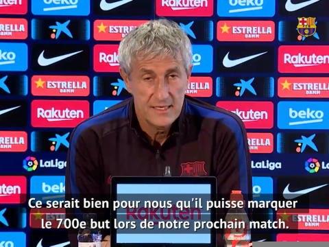 """30e j. - Setién : """"Ce serait bien pour nous que Messi marque son 700e but face à Séville"""""""