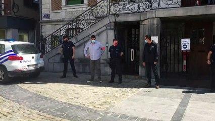 Manifestation des policiers à Huy