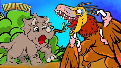 Quicksand!  Triceratops Vs Velociraptor | Dinosaur Songs from Dinostory by Howdytoons S2E6