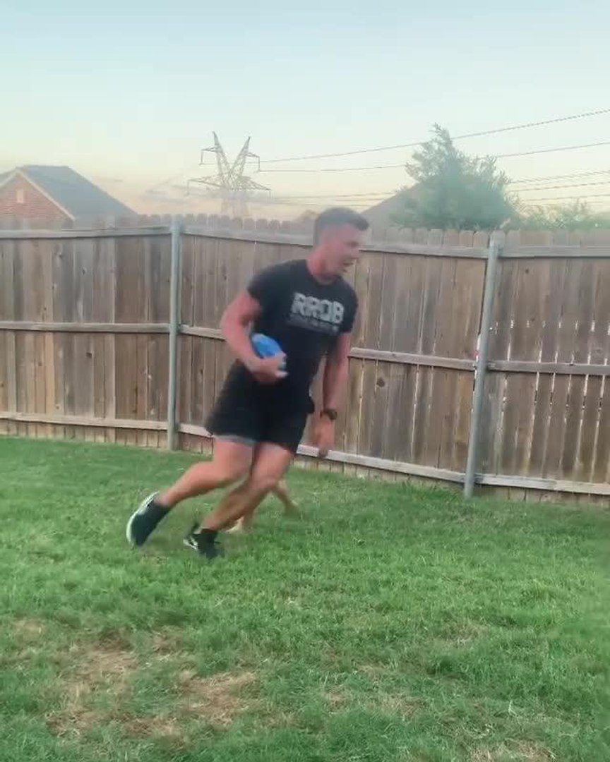 Dad Plays Rugby With Kids
