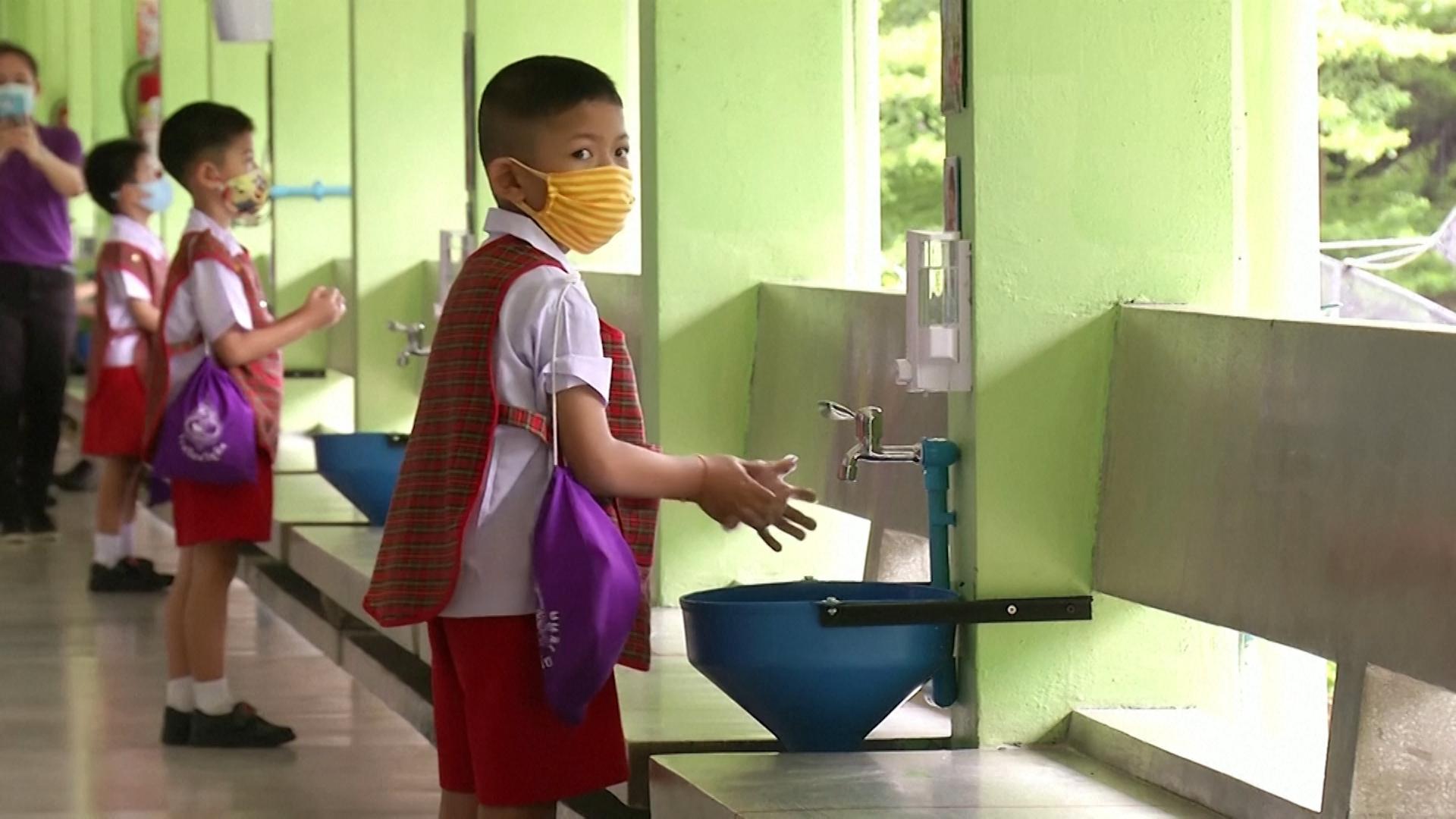 Thai kindergarten rehearses coronavirus prevention measures before schools reopen nationwide