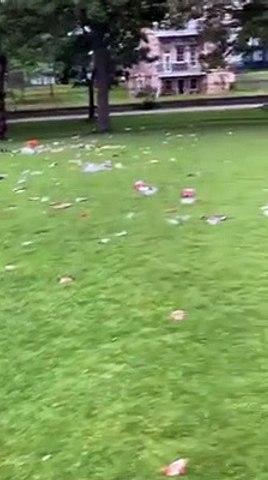 Rubbish in The Meadows, Edinburgh. July 6, 2020.