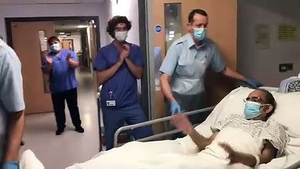Emotional moment dad-of-five with coronavirus leaves ICU for the first time in 63 days