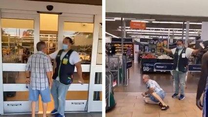 Un homme force l'entrée d'un supermarché alors qu'il ne porte pas de masque