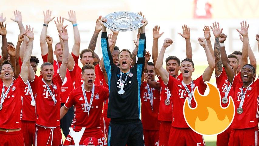 Bayern Munich hoisting the Meisterschale