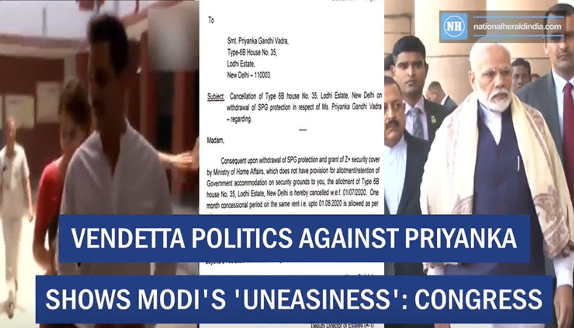 Vendetta Against Priyanka Shows Modi's 'Uneasiness'- Congress