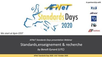 4ème Webinaire « AFNeT Standards Days » le 2/07/2020 à 18H sur Standards, Enseignement, Recherche.