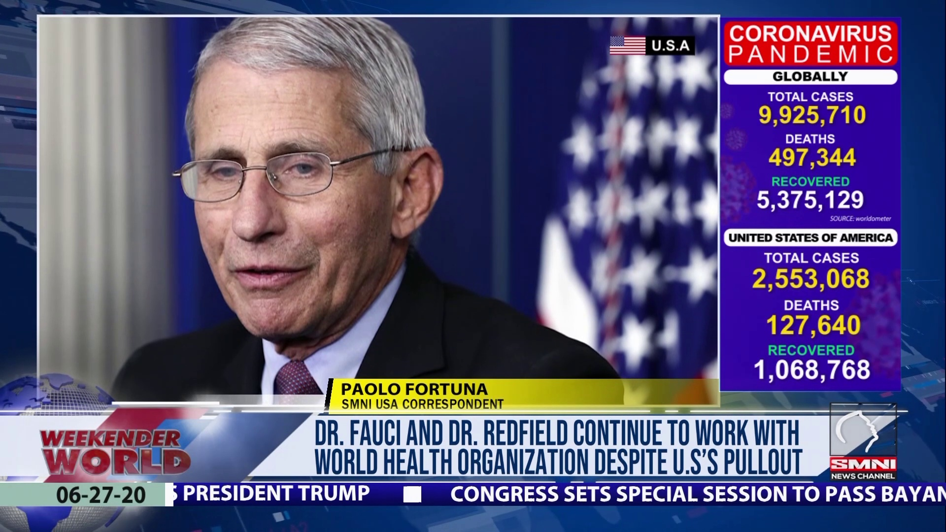 Dr. Fauci and Dr. Redfield continues to work with World Health Organization despite U.S's pullout