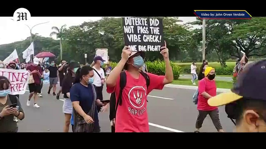 WATCH: Various groups troop to UP Diliman in Quezon City to oppose the signing of the Anti-Terrorism Bill