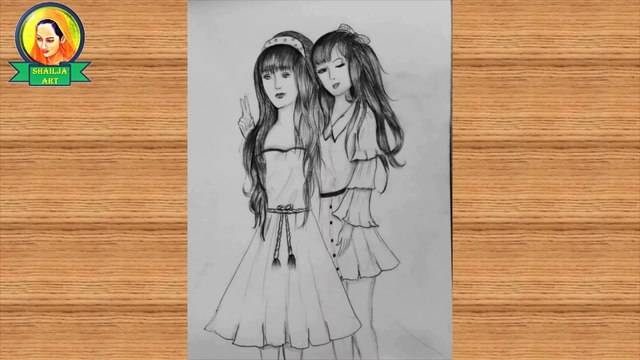 friends drawing   Best friends❤ pencil Sketch Tutorial   How To Draw two Friends Hugging Each other