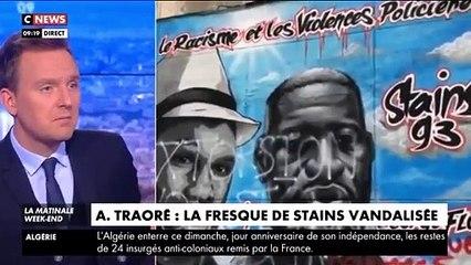 """Seine-Saint-Denis - La fresque en hommage à Adama Traoré et George Floyd à Stains vandalisée avec les mots : """"extorsion"""", """"vol"""", """"stop aux Traoré""""..."""
