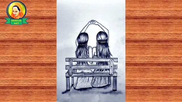Best friends ❤ pencil Sketch Tutorial | How To Draw Two Friends sitting on bench | best friends draw