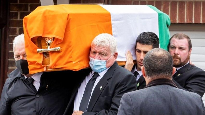 Veteran republican Bobby Storey was taken to Roselawn Crematorium after speeches in Milltown Cemetery