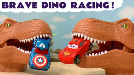 Hot Wheels Dinosaurs Brave Racing Challenge with Disney Pixar Cars 3 Lightning McQueen vs DC Comics and Marvel Avengers Superheroes with the Funny Funlings in this Family Friendly Full Episode Toy Story
