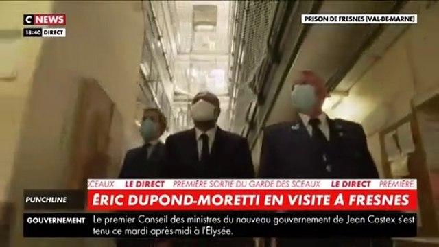 Regardez les détenus qui saluent aux cris de -aquittator- la première visite dans une prison du nouveau Ministre de la Justice, Eric Dupond-Moretti hier soir -