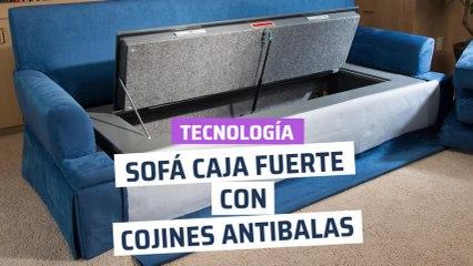 [CH] El sofá con cojines antibalas y una caja fuerte en su interior