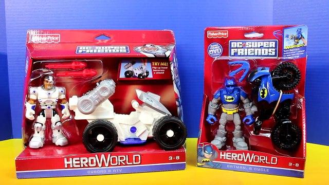Fisher Price DC Super Friends Hero World Cyborg & ATV Batman Bat Cycle Joker Penguin