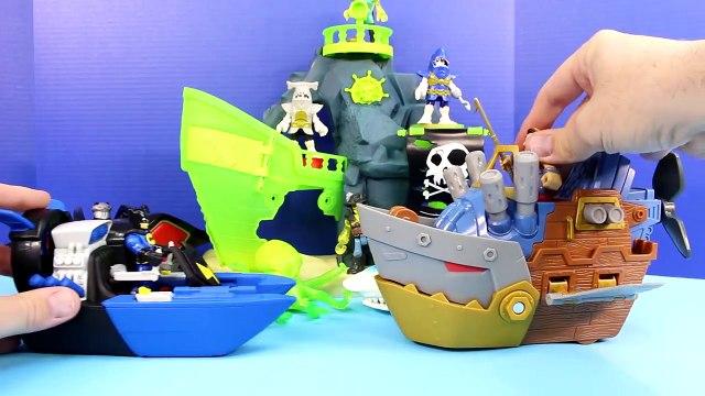 Imaginext Batman Batboat Rescues Robin From Pirate Sharks Manta Joker Riddler Bane