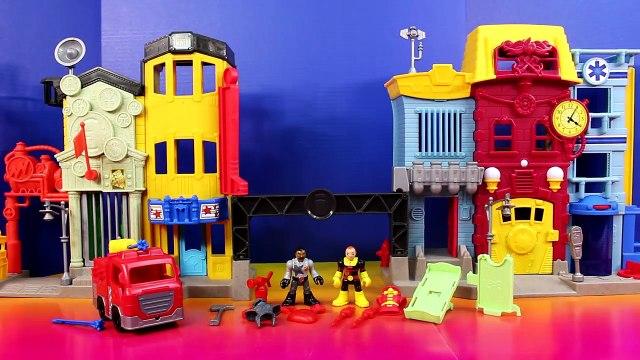 Imaginext Rescue City Center Fire Station Mohawk Dude Robot Bane Lex Luthor Battle Batman Batbot