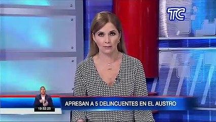 Policía Nacional detuvo a cinco sujetos con antecedentes penales que asaltaban en Cañar y Azuay