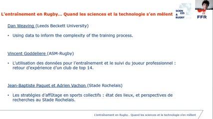 L'entraînement en rugby : quand les sciences et la technologie s'en mêlent (webinaire n°3)