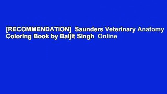 RECOMMENDATION] Saunders Veterinary Anatomy Coloring Book By Baljit Singh -  Video Dailymotion