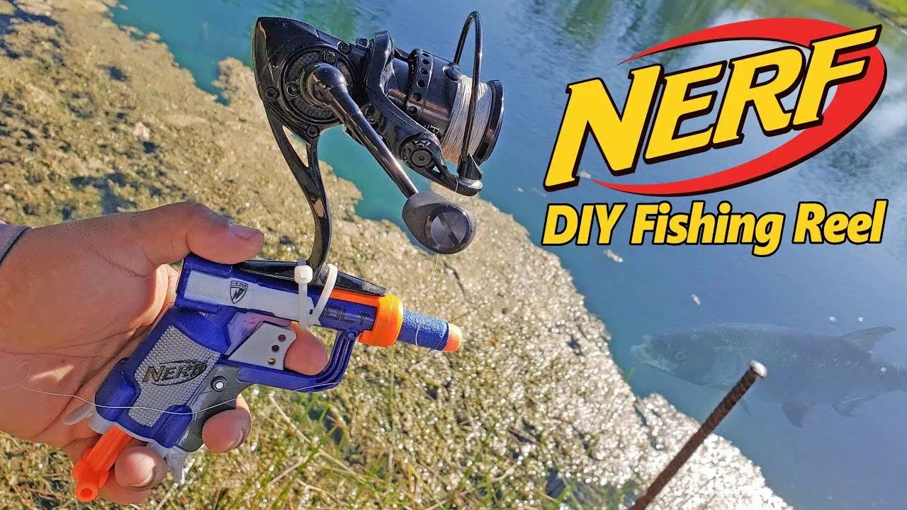 NERF GUN Fishing Reel Catches Pond Monsters DIY