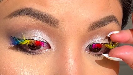 Rainbow magnetic lashes create colorful eyes in seconds