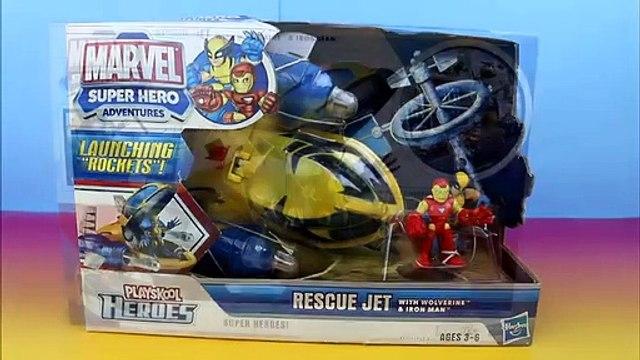 Marvel Super Hero Adventures PlaySkool Heroes Rescue Jet IronMan  & Wolverine Bane takes Spongebob