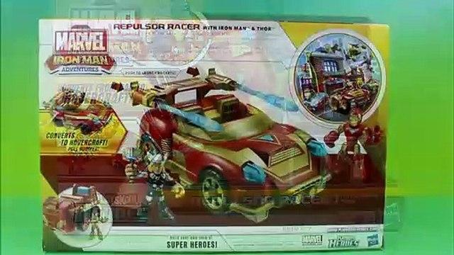Playskool Heroes Ironman Adventures Repulsor Racer with Ironman & Thor defeat Green Goblin & Bane